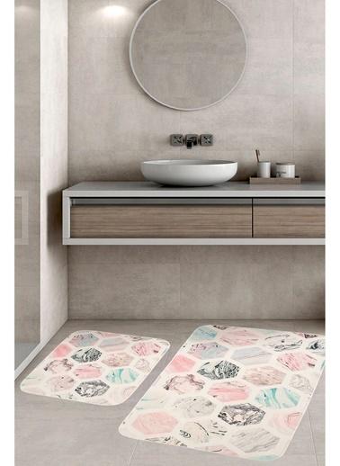 Hamur Hexagon 2 'li Set Banyo Paspası Kaymaz Taban Banyo Halısı Renkli